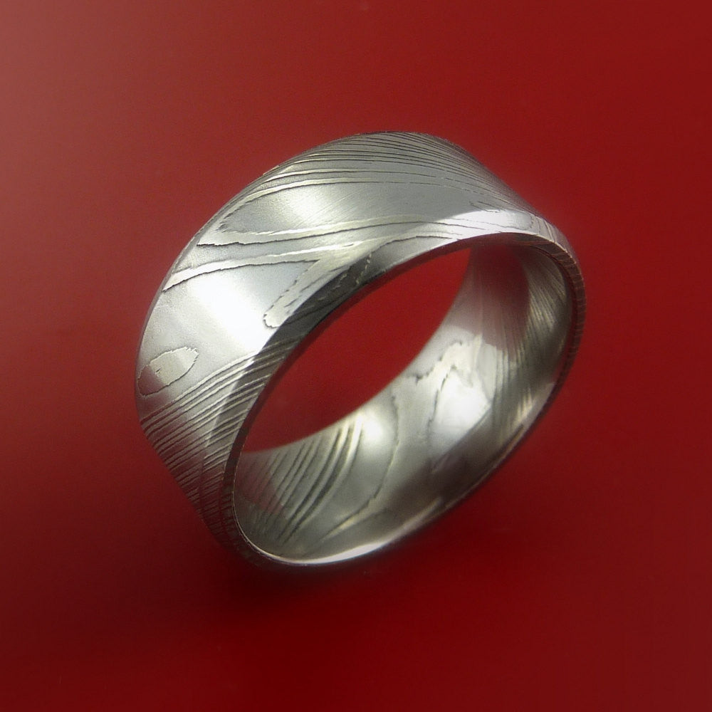 Damascus Steel Ring Wide Wedding Band Genuine Craftsmanship - Stonebrook Jewelry  - 4