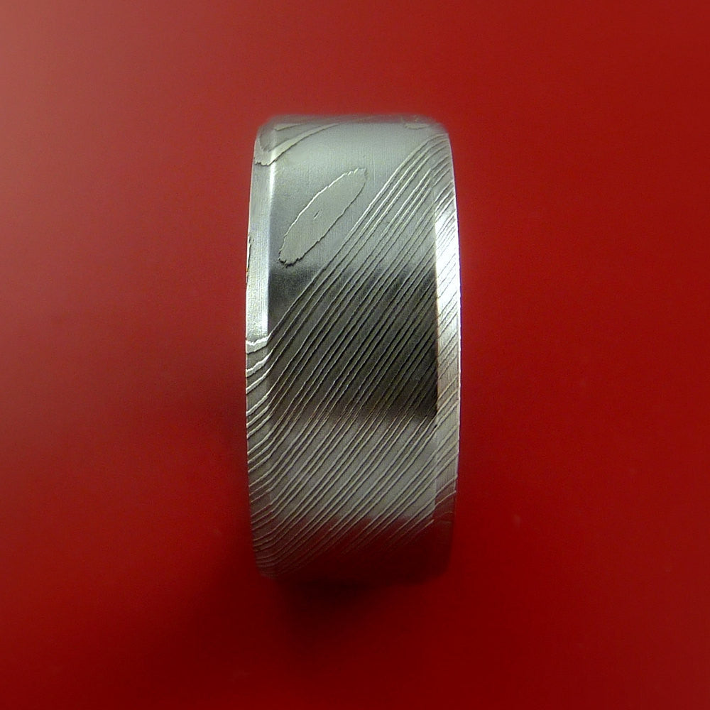 Damascus Steel Ring Wide Wedding Band Genuine Craftsmanship - Stonebrook Jewelry  - 3