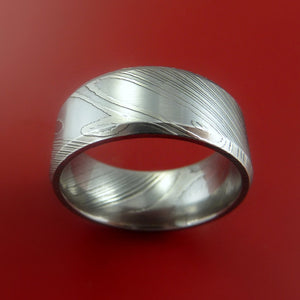 Damascus Steel Ring Wide Wedding Band Genuine Craftsmanship