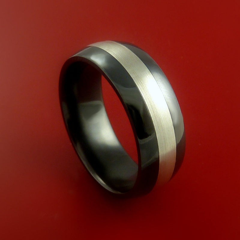 Black Zirconium Band Wide Sterling Silver Inlay Ring Made to Any Sizing 3-22