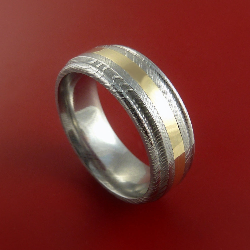 Damascus Steel 14K Yellow Gold Ring Wedding Band Genuine Craftsmanship by Stonebrook Jewelry
