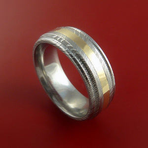 Damascus Steel 14K Yellow Gold Ring Wedding Band Genuine Craftsmanship