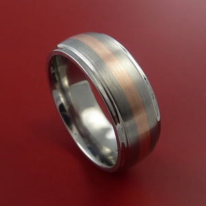 Rose Gold Ring and Titanium Custom Made Band Any Finish and Sizing from 3-22