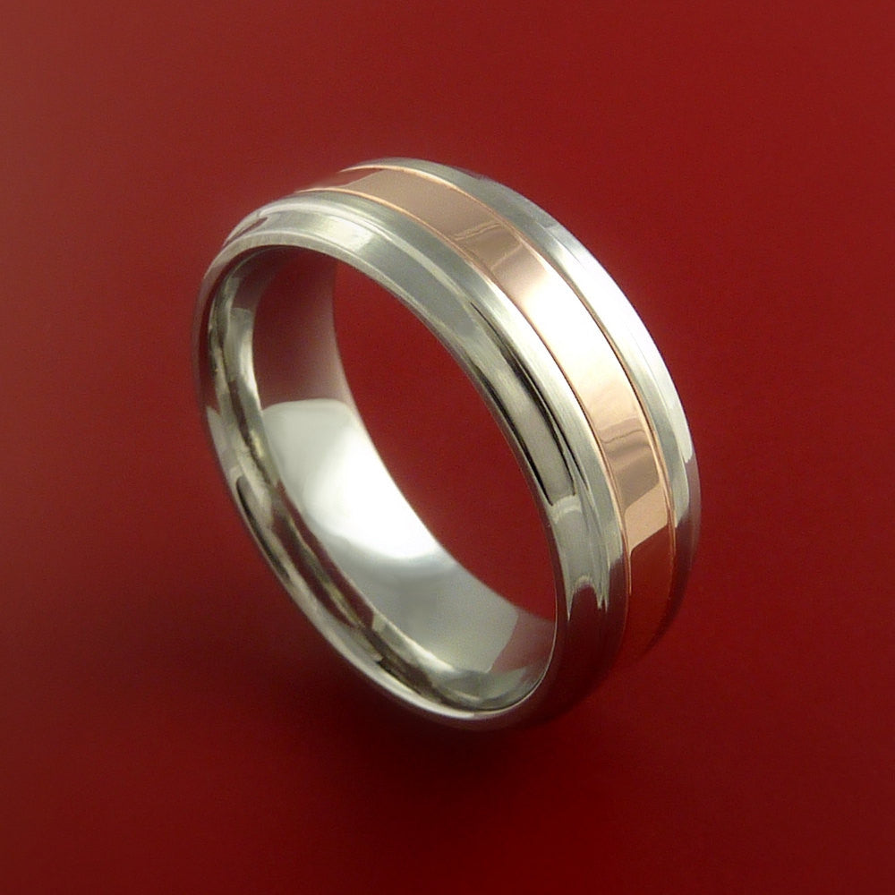cobalt chrome and 14k rose gold wedding band engagement ring made to any sizing and finish
