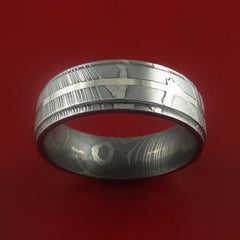 Damascus Steel 14K White Gold Ring Wedding Band - Stonebrook Jewelry  - 3