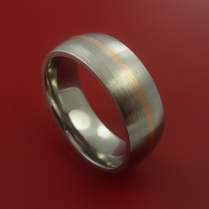 Titanium Ring with 14k Rose Gold Inlay Custom Made Band
