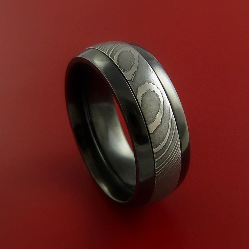 Black Zirconium Ring with Damascus Steel Inlay Custom Made Band