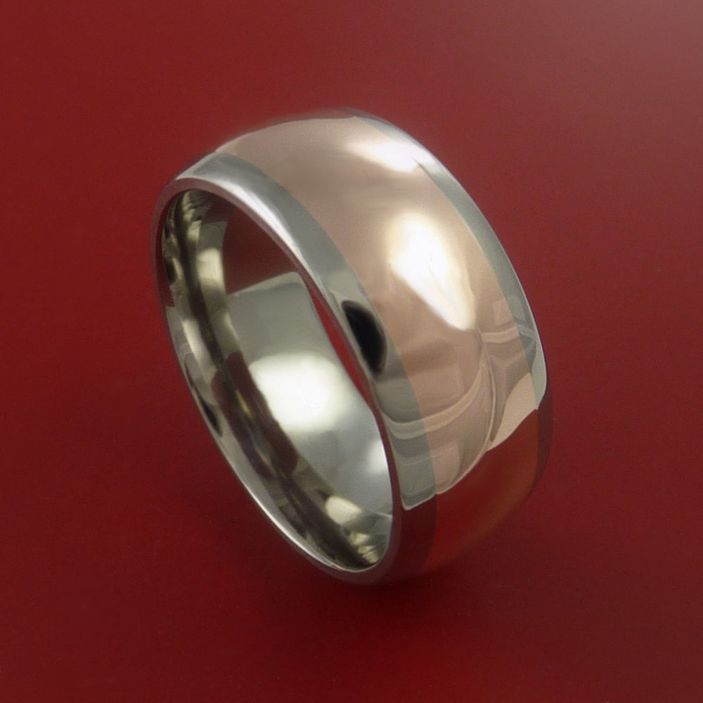 14k Rose Gold Titanium Band Wide Ring and Made to Any Finish and Size from 3-22 by Stonebrook Jewelry