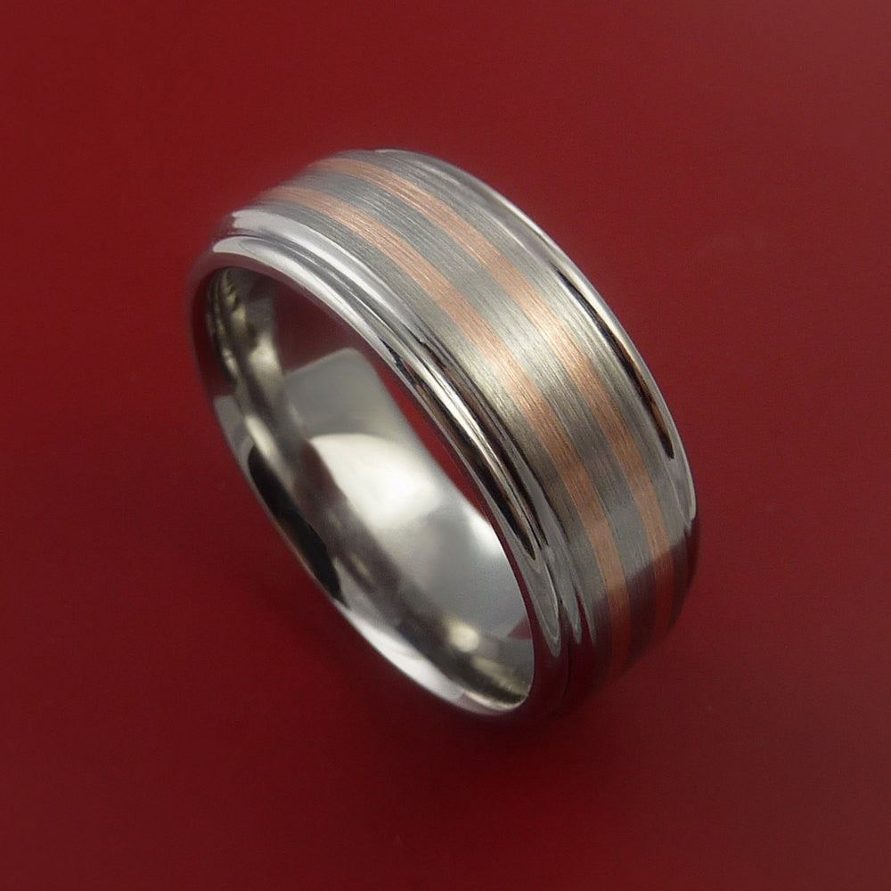 Rose Gold Ring and Titanium Custom Made Band Any Finish and Sizing from 3-22 by Stonebrook Jewelry