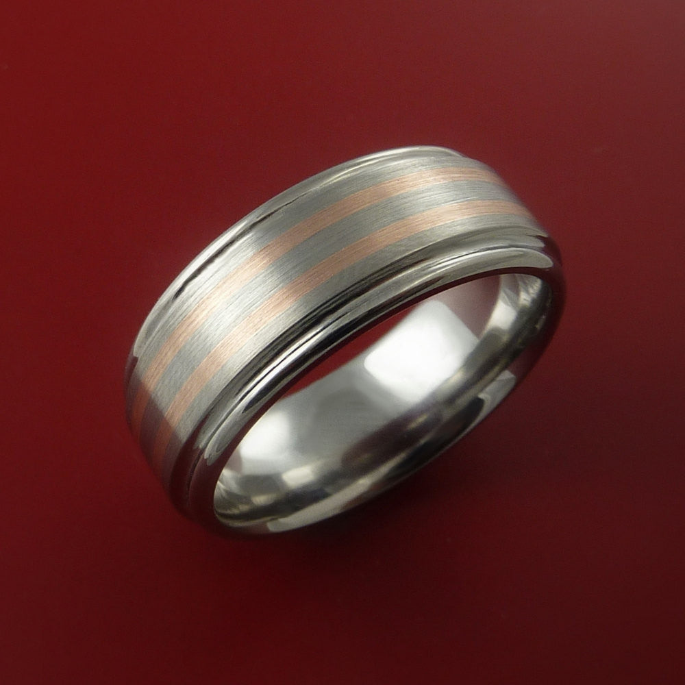 Rose Gold Ring and Titanium Custom Made Band Any Finish and Sizing from 3-22 - Stonebrook Jewelry  - 2