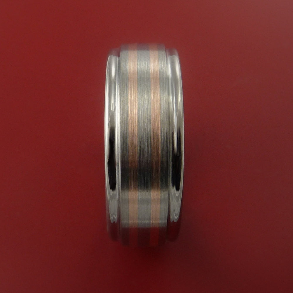 Rose Gold Ring and Titanium Custom Made Band Any Finish and Sizing from 3-22 - Stonebrook Jewelry  - 4