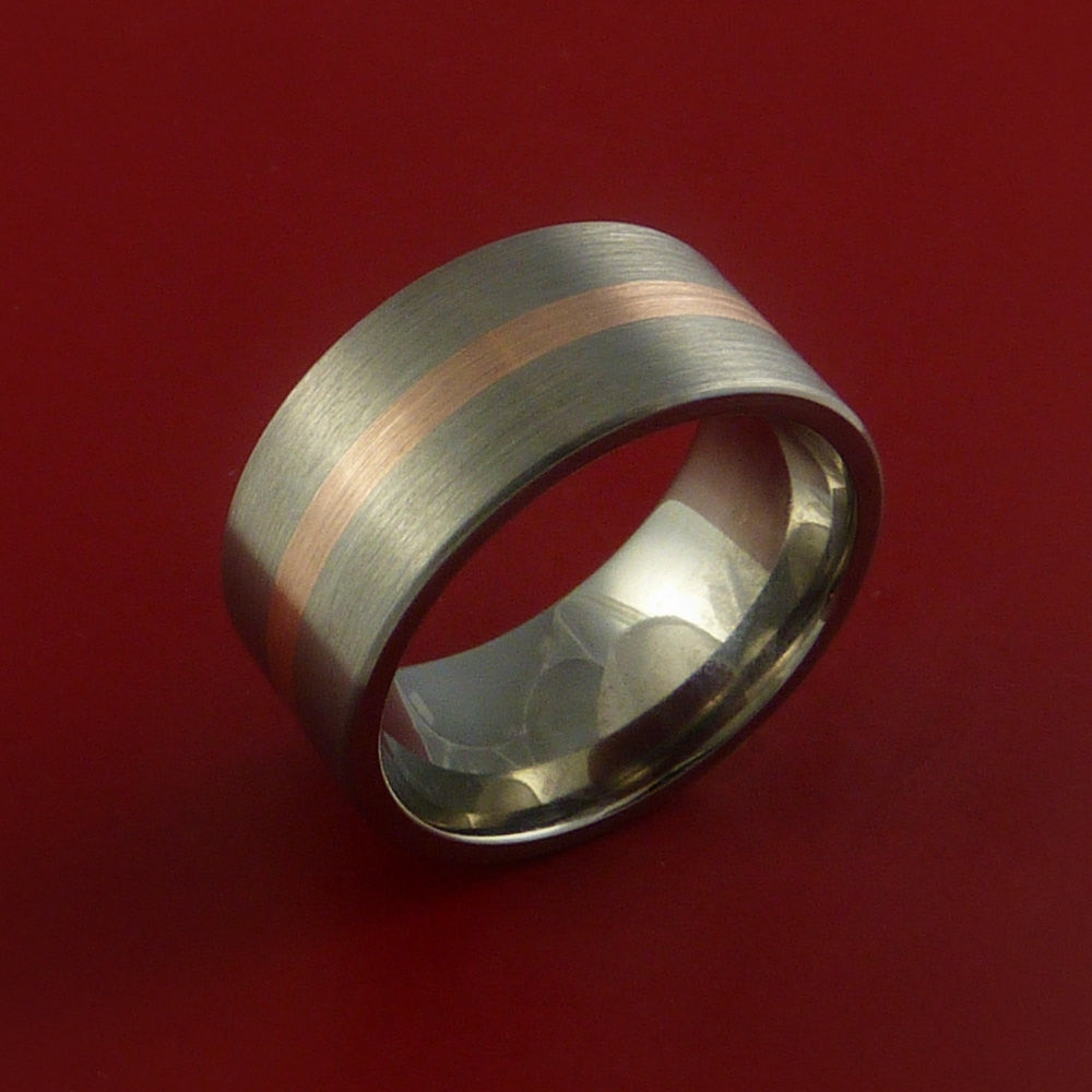 Rose Gold and Titanium Ring Custom Made Band Any Finish and Sizing from 3-22 - Stonebrook Jewelry  - 3