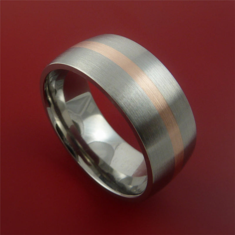 14K Rose Gold and Titanium Ring Wide Band Any Finish and Sizing from 3-22