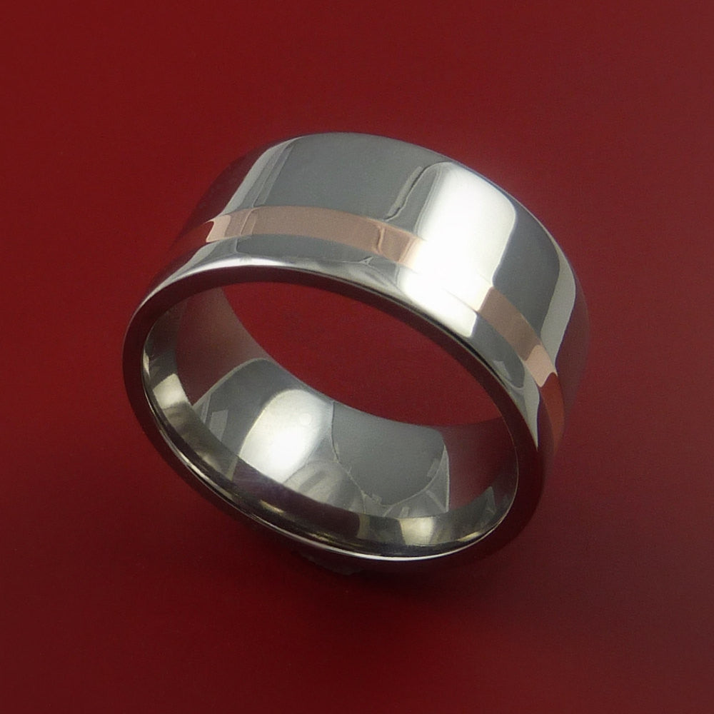 Rose Gold and Titanium Ring Wide Band Any Finish and Sizing from 3-22 - Stonebrook Jewelry  - 1