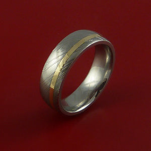 Damascus Steel Ring with 14k Yellow Gold Inlay Custom Made Band