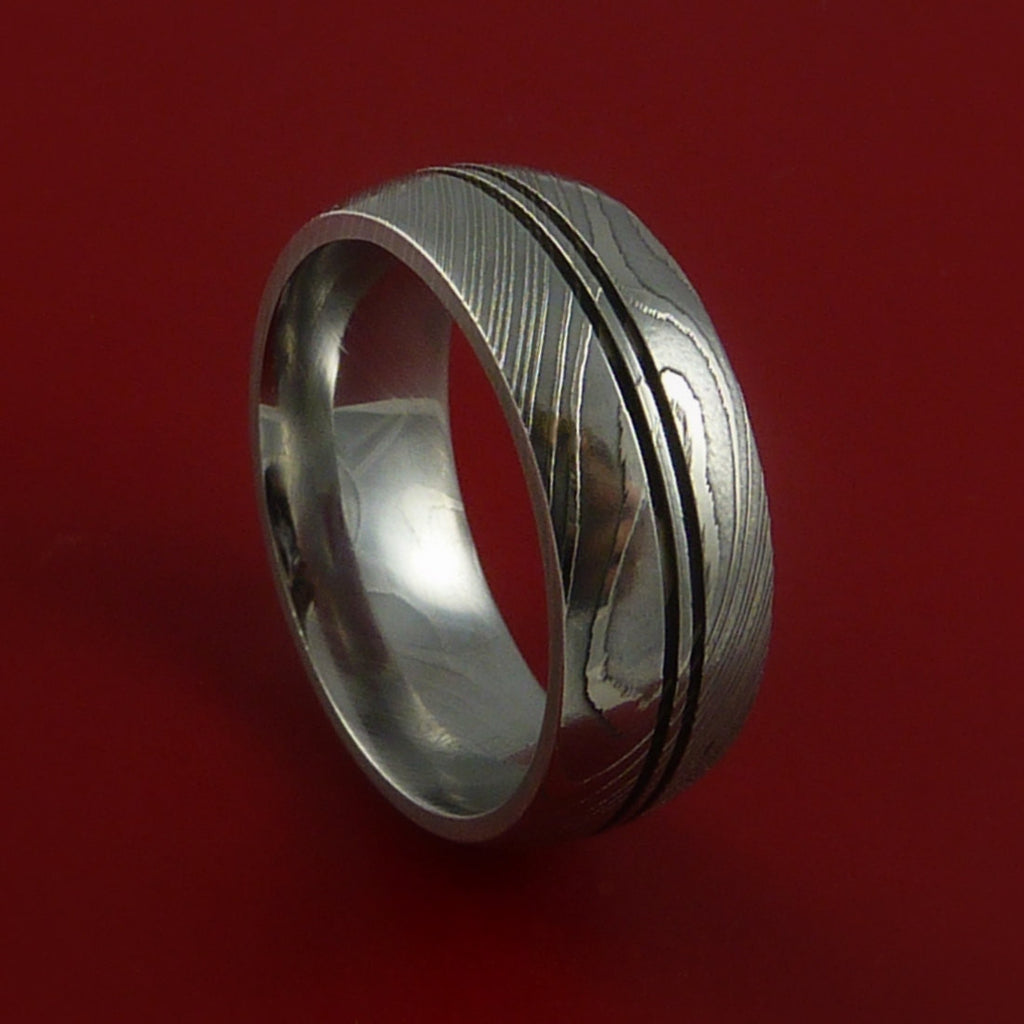 Damascus Steel Ring Wedding Band Genuine Craftsmanship by Stonebrook Jewelry