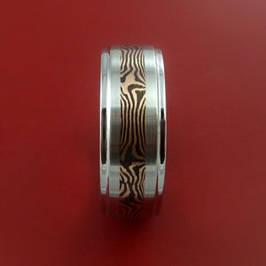 Cobalt Chrome and 14K ROSE Gold Mokume Shakudo Ring Custom Made to Any Size 3 to 22