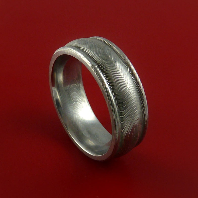 Damascus Steel Ring Basket Weave Pattern Wedding Band