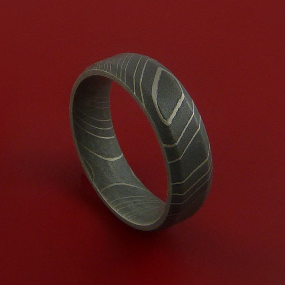 Damascus Steel Ring Acid Finish Wedding Band by Stonebrook Jewelry