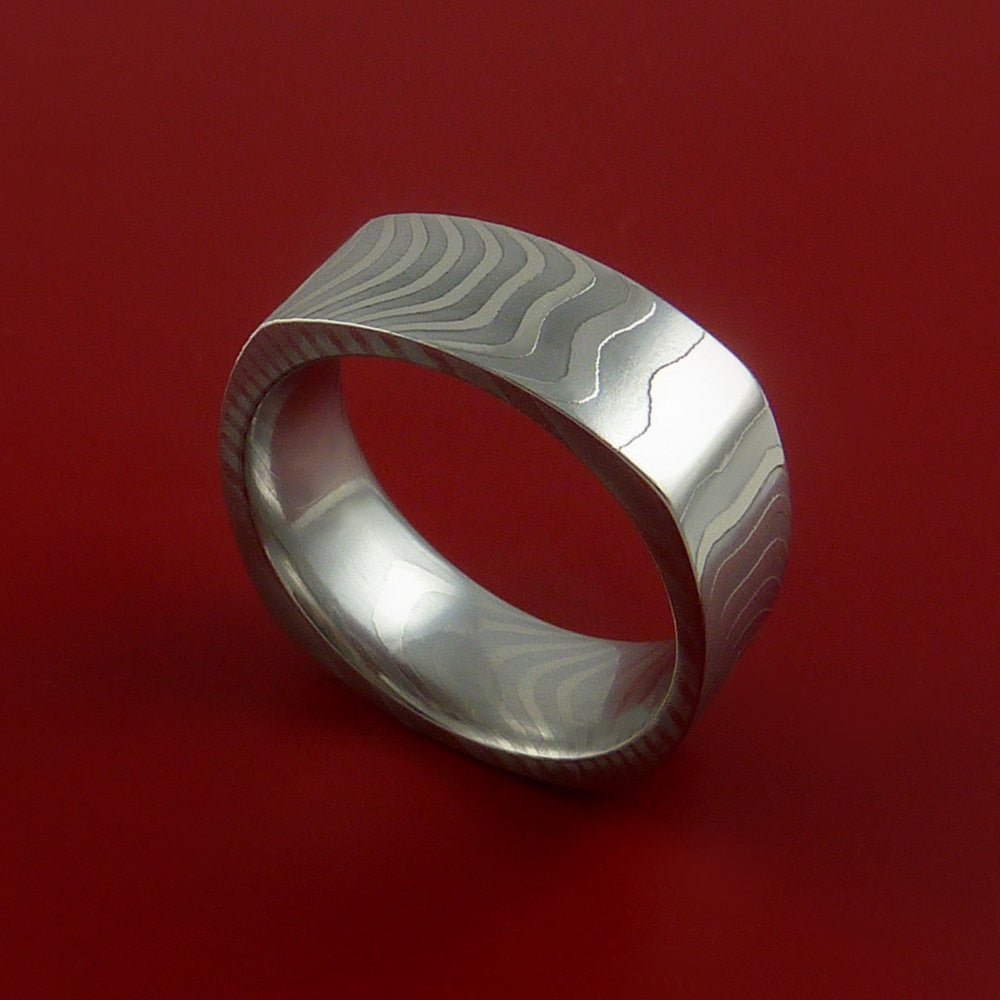 Damascus Steel Square Band Stripe Pattern Ring - Stonebrook Jewelry  - 2