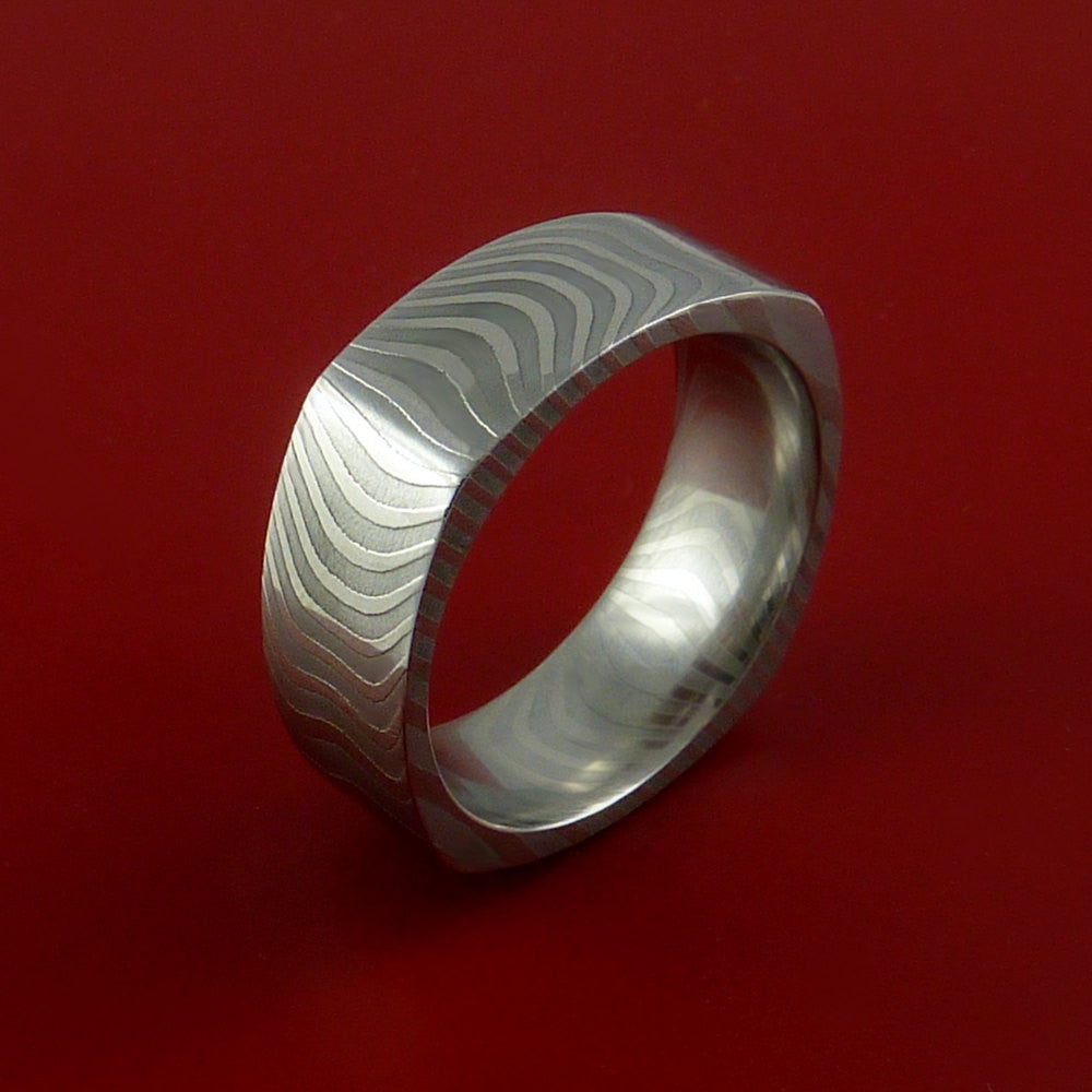 Damascus Steel Square Band Stripe Pattern Ring - Stonebrook Jewelry  - 3