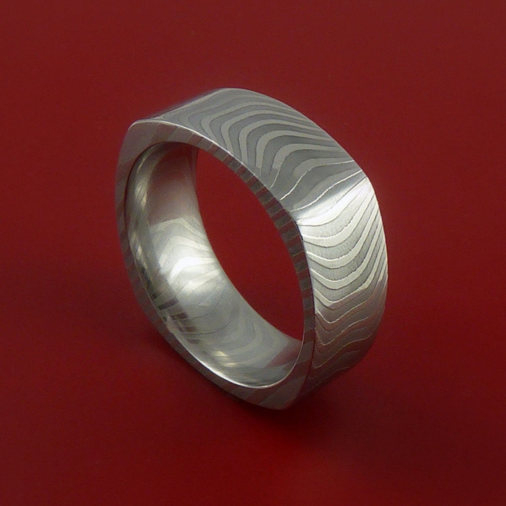 Damascus Steel Square Band Stripe Pattern Ring - Stonebrook Jewelry  - 1