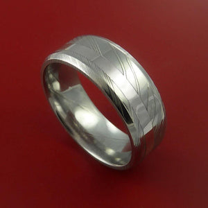 Damascus Steel Ring with Platinum Inlay Custom Made Band