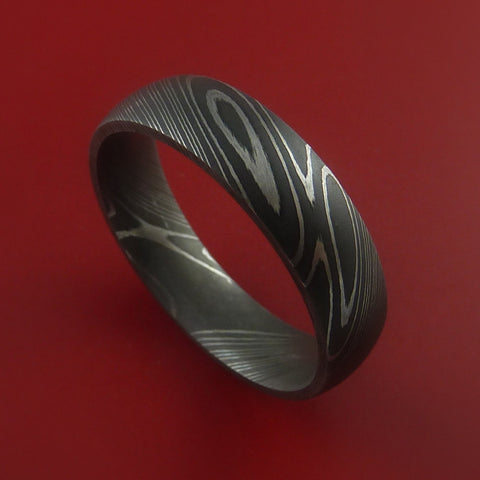 Damascus Steel Ring Acid Finish Genuine Craftsmanship Custom Made by Stonebrook Jewelry