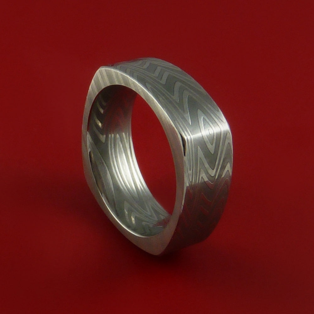 Damascus Steel Square Band Zebra Pattern Ring Genuine Craftsmanship by Stonebrook Jewelry