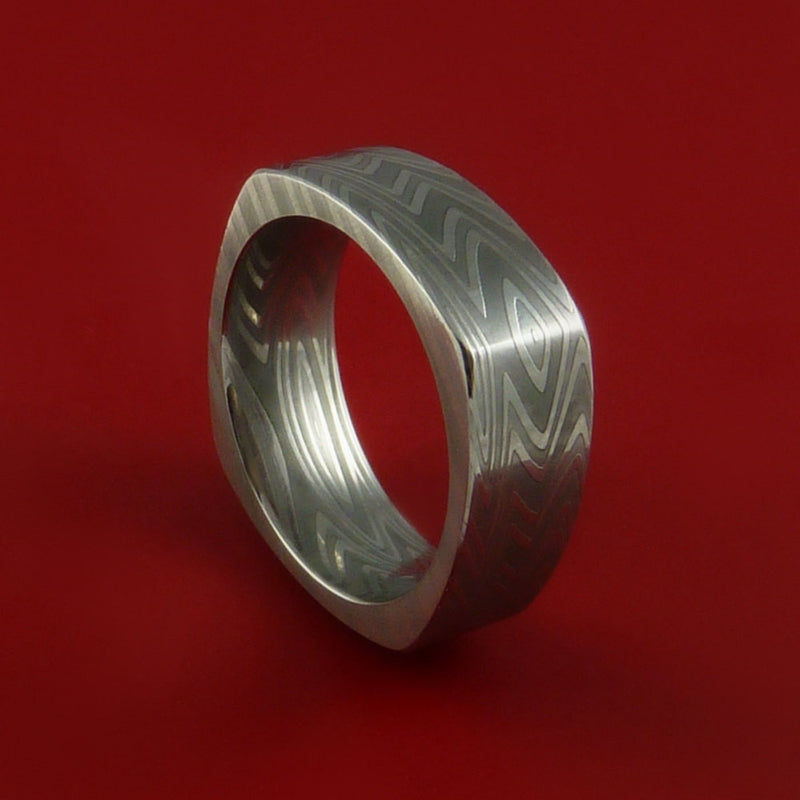 Damascus Steel Square Band Zebra Pattern Ring Genuine Craftsmanship