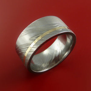 Damascus Steel 14K Yellow Gold Wide Ring Wedding Band Custom Made