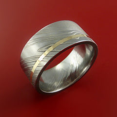 Damascus Steel 14K Yellow Gold Wide Ring Wedding Band Custom Made by Stonebrook Jewelry