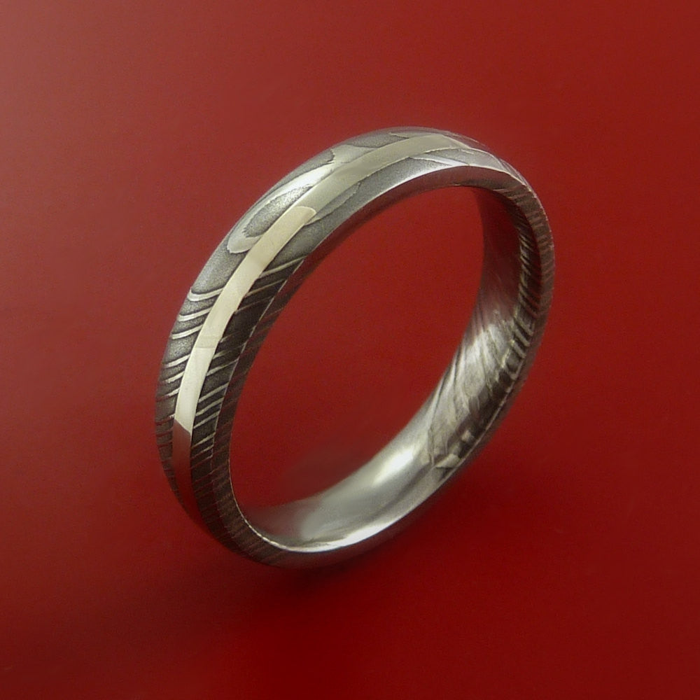 Damascus Steel 14K White Gold Ring Hand Crafted Wedding Band Custom Made - Stonebrook Jewelry  - 4