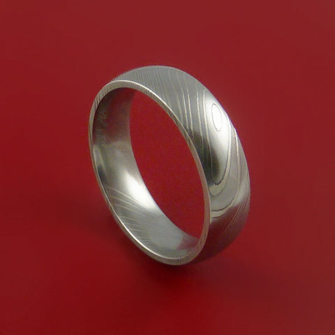 Damascus Steel Ring Wedding Band Dome Style Genuine Craftsmanship