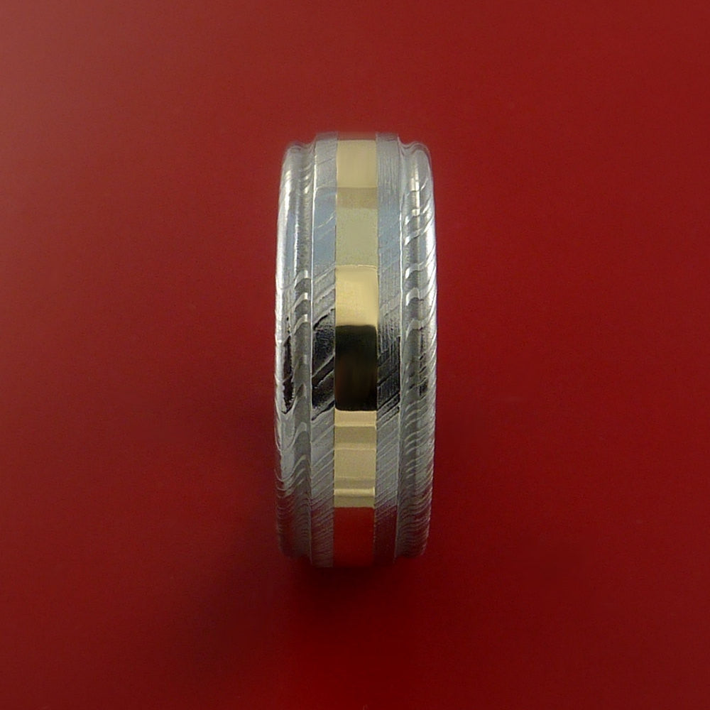 Damascus Steel 14K Yellow Gold Ring Wedding Band Genuine Craftsmanship - Stonebrook Jewelry  - 4