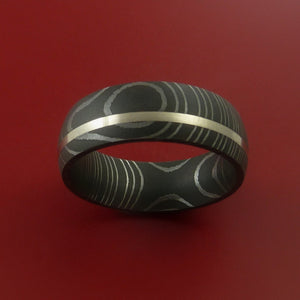 Damascus Steel Ring with  Inlay Custom Made Band