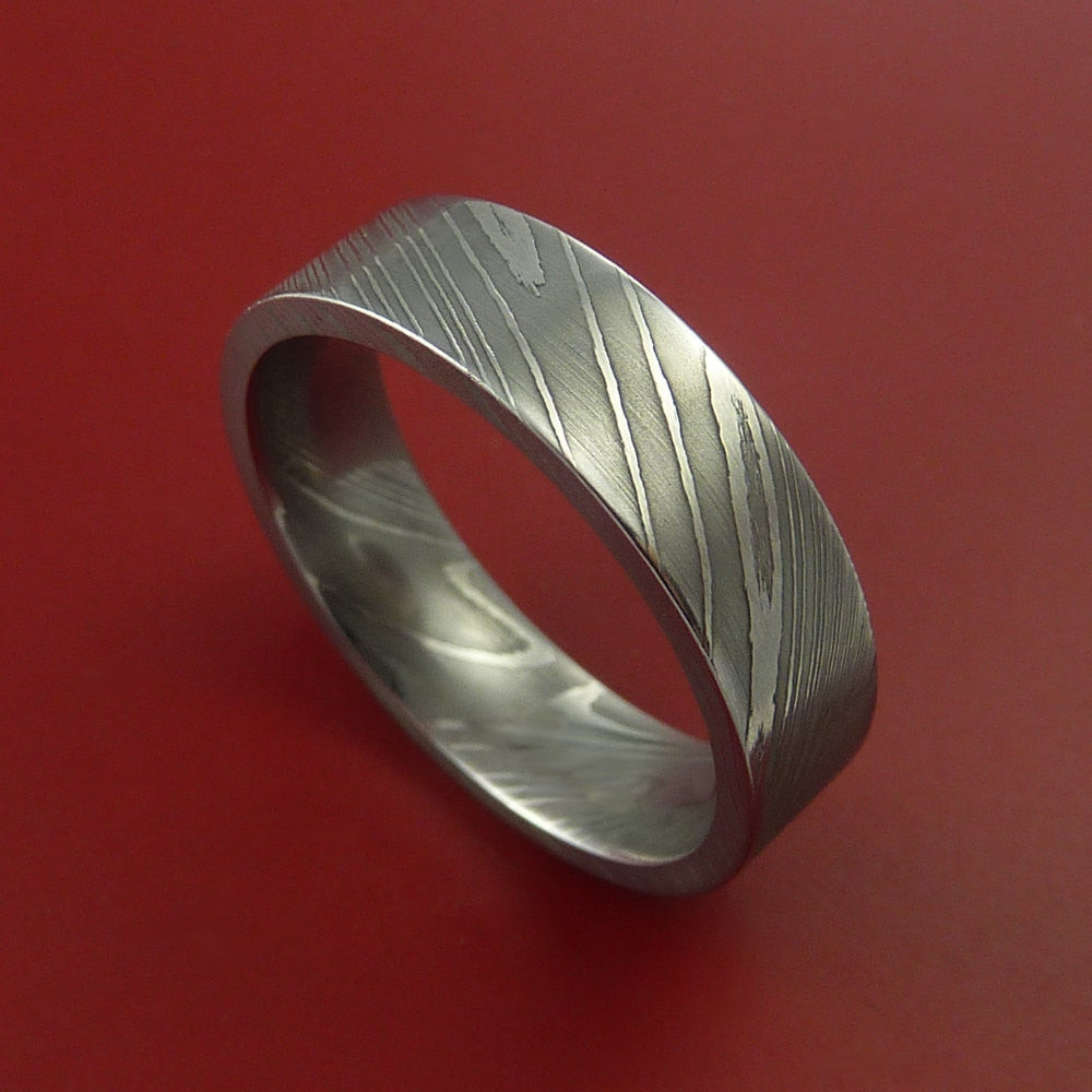 Damascus Steel Ring Wedding Band Genuine Craftsmanship Made by Stonebrook Jewelry