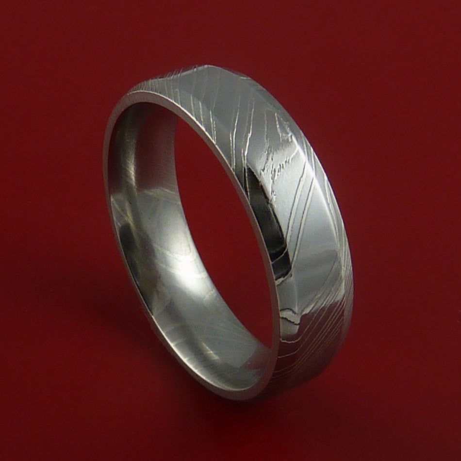 Damascus Steel Ring Wedding Band Genuine Craftsmanship Custom Made by Stonebrook Jewelry