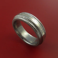 Damascus Steel 14K White Gold Ring Wedding Band by Stonebrook Jewelry
