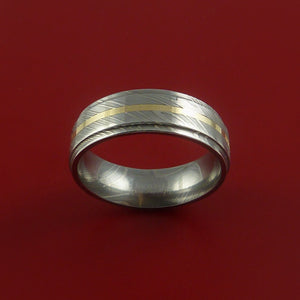 Damascus Steel 14K Yellow Gold Ring Wedding Band