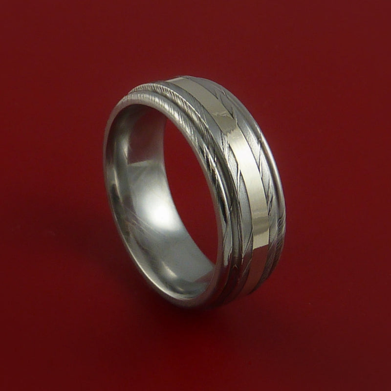 Damascus Steel 14K White Gold Ring Wedding Band