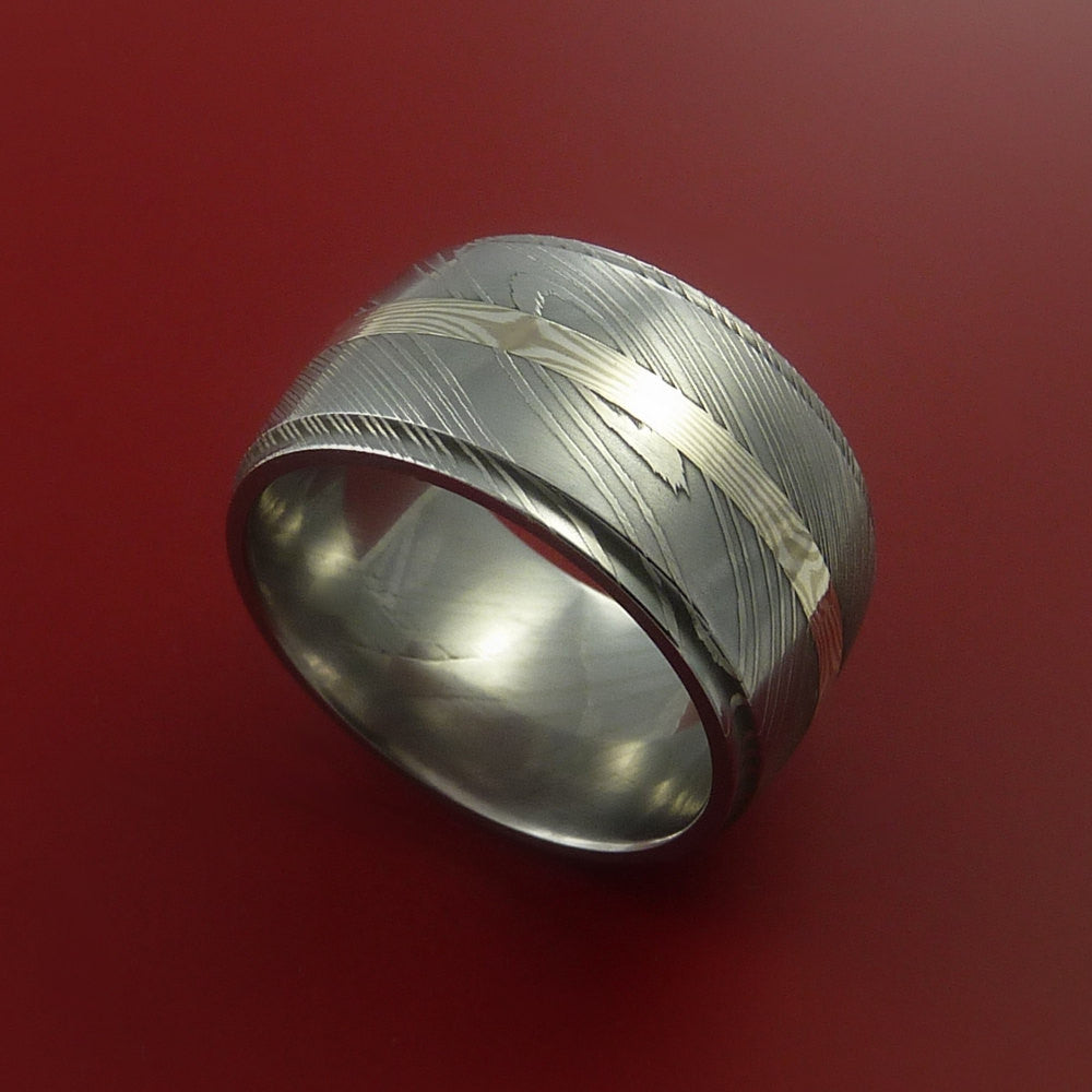 Wide Damascus and 14K GOLD Mokume Ring Custom Made by Stonebrook Jewelry
