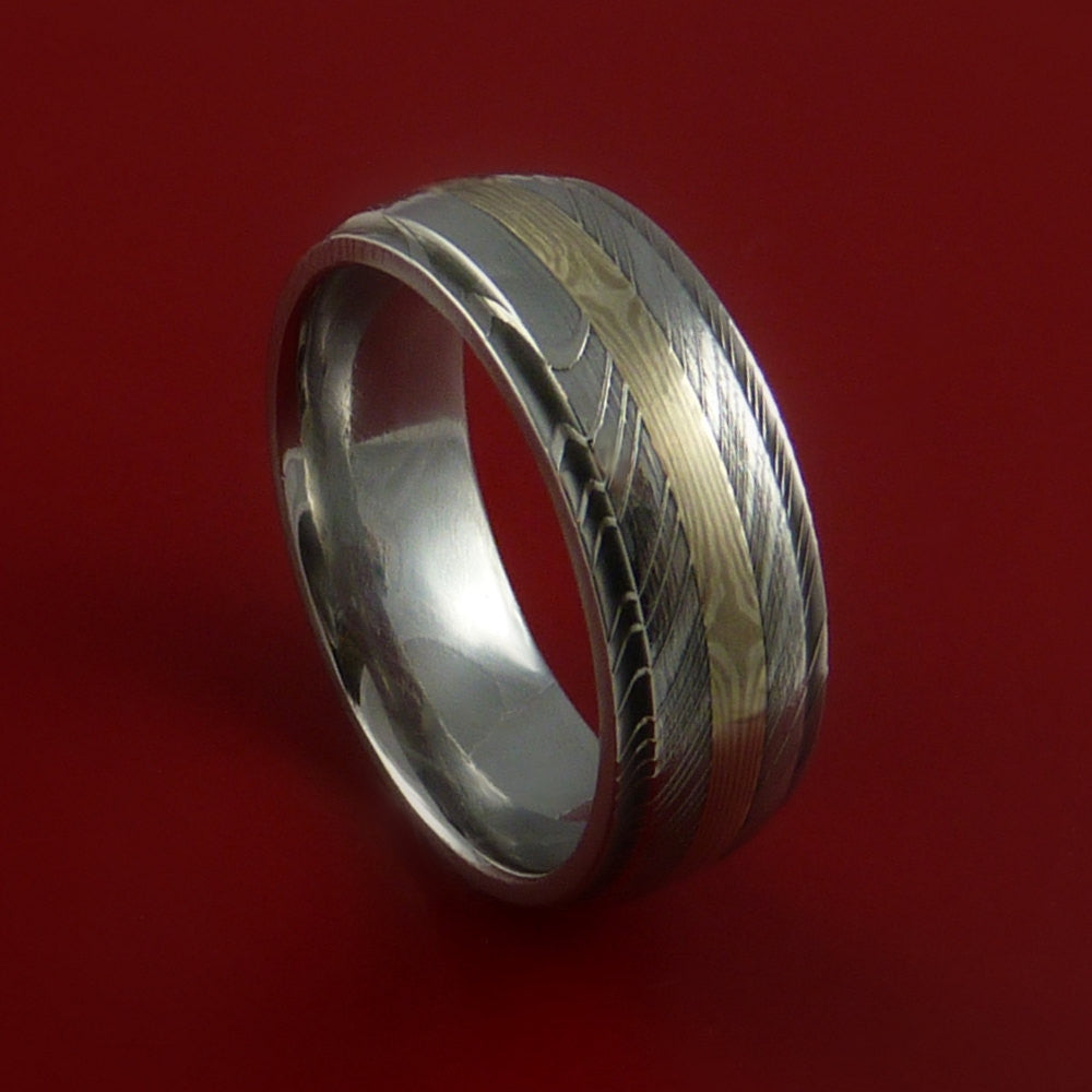 Damascus and 14K GOLD Mokume Ring Custom Made Band by Stonebrook Jewelry