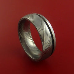 Damascus Steel Ring Wedding Band Genuine Craftsmanship Optional Color Inlay - Stonebrook Jewelry  - 2
