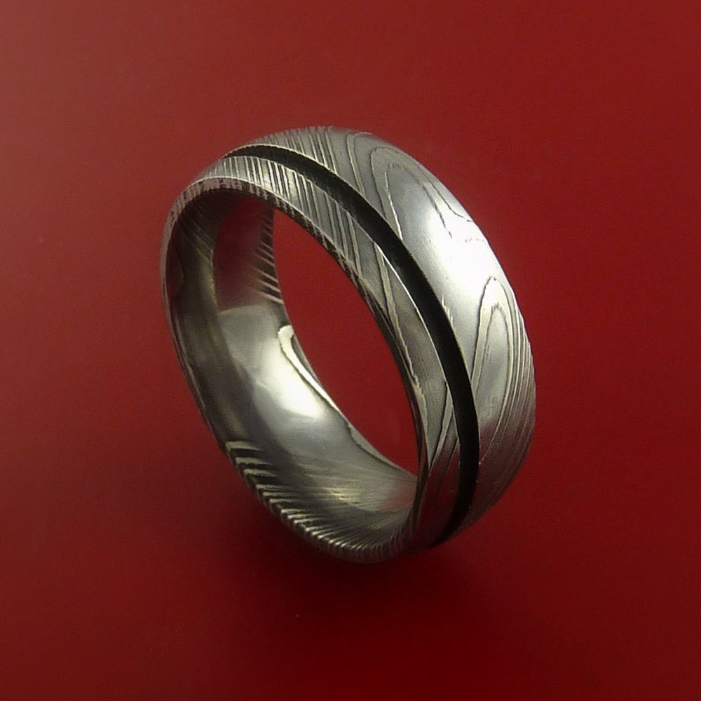 Damascus Steel Ring Wedding Band Genuine Craftsmanship Optional Color Inlay - Stonebrook Jewelry  - 1