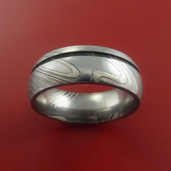 Damascus Steel Ring Wedding Band Genuine Craftsmanship Optional Color Inlay - Stonebrook Jewelry  - 4