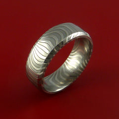 Damascus Steel Ring Stripe Pattern Wedding Band Tiger Look - Stonebrook Jewelry  - 3