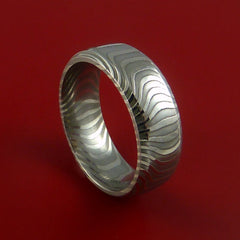 Damascus Steel Ring Stripe Pattern Wedding Band Tiger Look by Stonebrook Jewelry