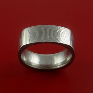 Damascus Steel Square Band Stripe Pattern Ring