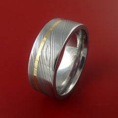 Damascus Steel 14K Yellow Gold Ring Wedding Band Custom Made - Stonebrook Jewelry  - 5